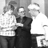 Журналист В. Иваненко, А.М. Топоров и поэт Э.И. Январёв на Николаевском телевидении . 1970-е годы.